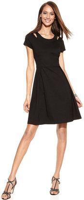 INC International Concepts Short-Sleeve Cutout A-Line Dress