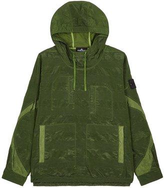 Stone Island Shadow Project Army Green Hooded Nylon Metal Sweatshirt