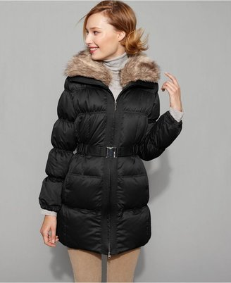 Nine West Coat, Down Puffer with Faux Fur Collar