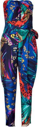 Salvatore Ferragamo Multicolor Belted Silk Jumpsuit