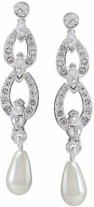 Carolee Earrings, Glass Pearl and Crystal Linear Drop