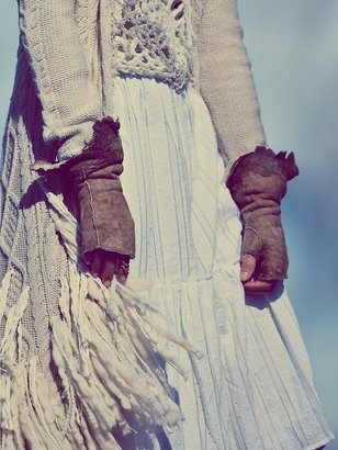 Free People Suede and Lace Fingerless Gloves