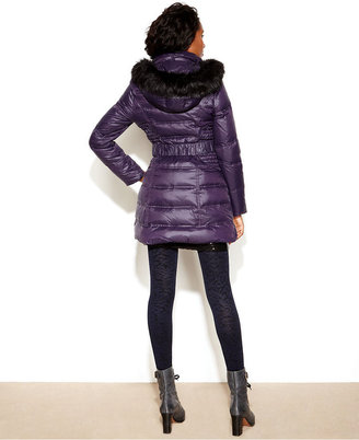 Laundry by Shelli Segal Hooded Faux-Fur-Trim Belted Quilted Puffer Coat
