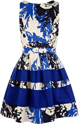Oasis Print And Plain Bandeau Dress