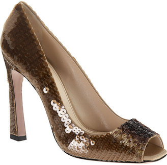 Prada Paillette Peep Toe - Brown