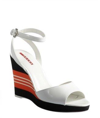 Prada Sport white patent leather 'Vernice' peep-toe platform sandals