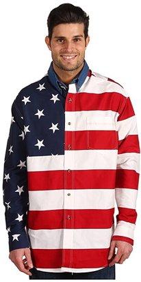 Roper Stars Stripes Pieced Flag Shirt L/S (Red) Men's Clothing
