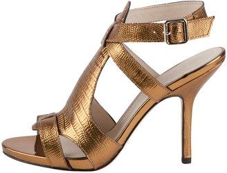 Elizabeth and James Tango Metallic Lizard-Embossed Sandal, Copper