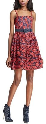 Alice + Olivia 'Sia' Floral Flare Skirt Dress
