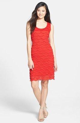Chaus Scalloped Fringe Lace Dress
