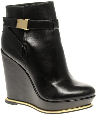 Asos ARTY Leather Wedge Ankle Boots With Gold Detail