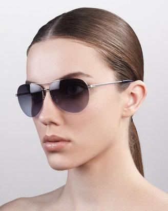Barton Perreira Classic Aviator Sunglasses, Silver