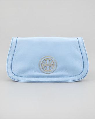 Tory Burch Amanda Logo Clutch Bag, Light Blue