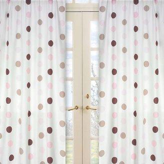 Sweet Jojo Designs Mod Dots Window Curtain Panel Pair in Pink/Chocolate