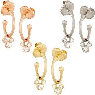 Disney Diamond Mickey Mouse Hoop Slider Earrings 14K