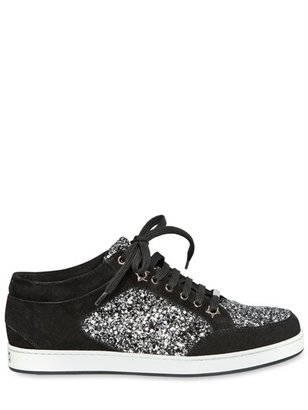 Jimmy Choo 20mm Miami Coarse Glitter Suede Sneakers