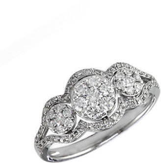 EFFY Bouquet 14Kt. White Gold Three Circle Diamond Ring