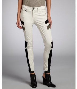 Rag and Bone Rag & Bone winter white stretch denim and leather motocross paneled jeans