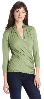 Chaus Women's 3/4 Sleeve Cross Wrap Top