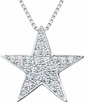 Jools by Jenny Brown Sterling Silver Pave Star Pendant, Rhodium