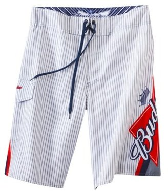 Men's Budweiser Board Shorts - White Pinstripe