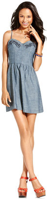 Keds Juniors Dress, Sleeveless Chambray Ruffled Bustier A-Line