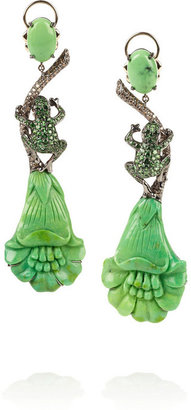 Lydia Courteille Amazonia 18-karat blackened white gold multistone earrings
