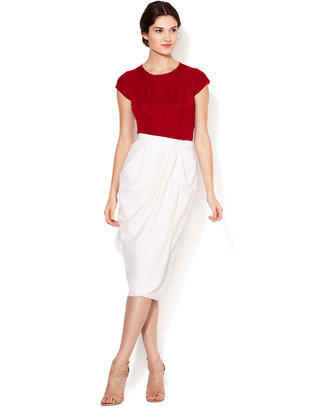 Carolina Herrera Wool Draped Wrap Skirt