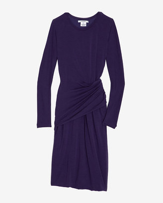 Carven Crew Neck Jersey Ruched Dress