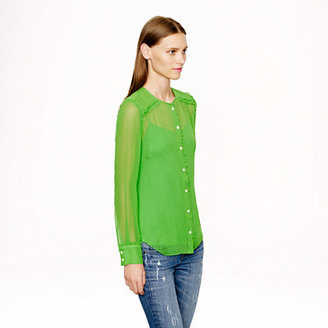J.Crew Collection ruffle-trim chiffon blouse