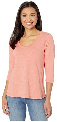 Mod-o-doc Slub Jersey 3/4 Sleeve Scoop Neck Tee (Peach Blossom) Women's T Shirt