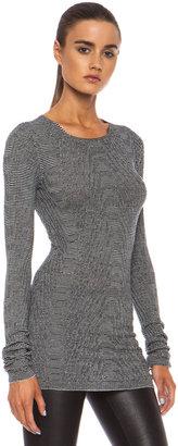 Rick Owens Round Neck Wool Pullover in Black & White