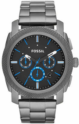 Fossil Men Chronograph Machine Smoke-Tone Stainless Steel Bracelet Watch 45mm FS4931