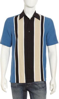Nat Nast Striped Patchwork Short-Sleeve Shirt, Blue