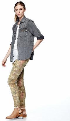Current/Elliott Slim Snake-Print Stretch Jeans, Black Desert Python
