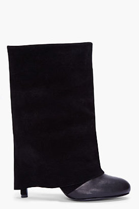 See by Chloe Black Suede Slouch Ankle Boots