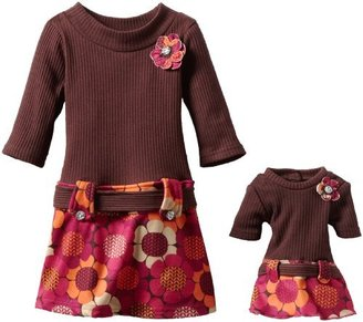 Dollie & Me Girls 2-6X Drop Waist Dress With Printed Skirt With Matching Doll Garment