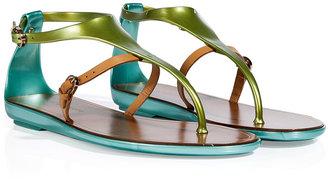 Sergio Rossi Pistachio/Beige PVC/Leather Thong Sandals