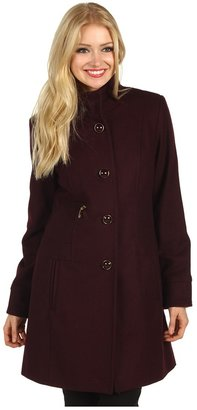 Vince Camuto Single Breasted High Collar Coat (Wine) - Apparel