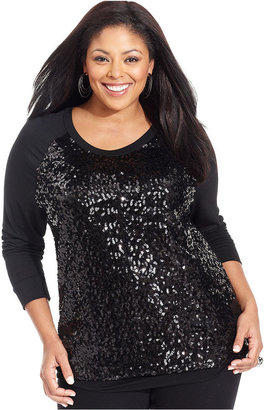 Cha Cha Vente Plus Size Top, Long-Sleeve Sequin