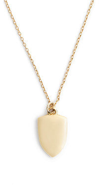"J.Crew 14k Gold Shield Charm Necklace With 18 1/2"" Chain"