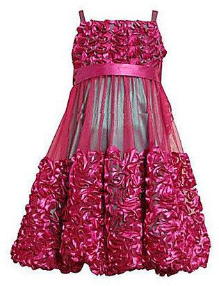 Bonnie Jean 7-16 Mesh-Overlay Bonaz Bubble Dress