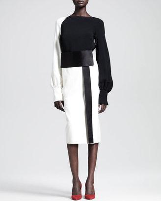 The Row Two-Tone Mid-Length Obi Skirt