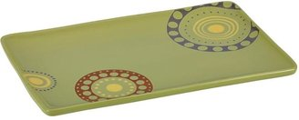 Rachael Ray 12.75x8.25-in. Rectangular Circles and Dots Platter, Green