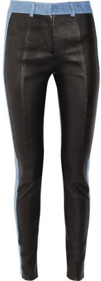 Acne Best leather and stretch-denim leggings-style pants