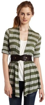 Amy Byer A. Byer Juniors 2 Fer Belted Cardigan Top with Sleeve
