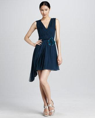 Vera Wang Ruched Chiffon Cocktail Dress