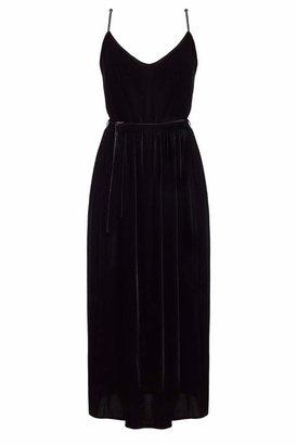 UNDRESS - Adrika Black Silk Velvet Rope Trim Dress
