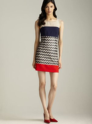 Max & Cleo Chevron Striped Exposed Seam V-Back Dress