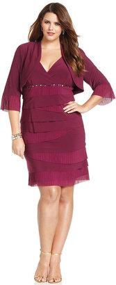 SL Fashion Plus Size Dress and Jacket, Sleeveless Beaded Tiered